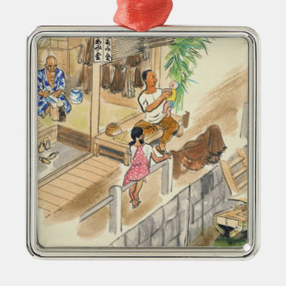 Wada Japanese Vocations In Pictures Funayado Sanzo Silver-Colored Square Decoration