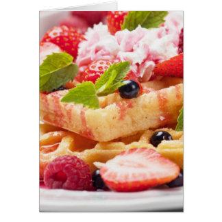 Waffle cake with fresh berry fruit greeting card