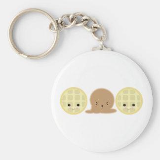waffle ice cream sandwich basic round button key ring