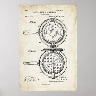 Waffle Iron Patent Print Poster 1883
