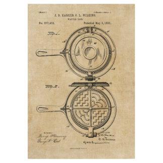Waffle Iron Patent Print Wood Poster 1883