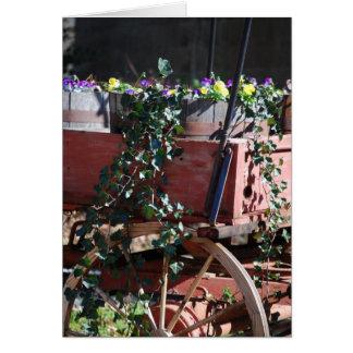 wagon flowers greeting card