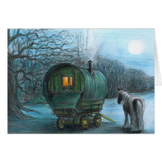 Wagon in the Moonlight Card