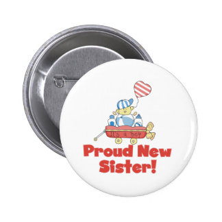 Wagon Proud New Sister It's a Boy 6 Cm Round Badge