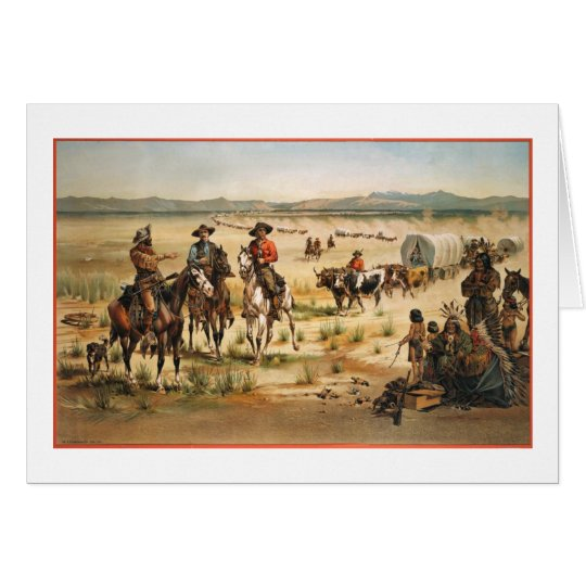 Wagon Train vintage painting Card