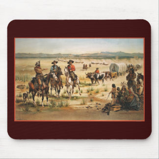 Wagon Train vintage painting Mouse Pad