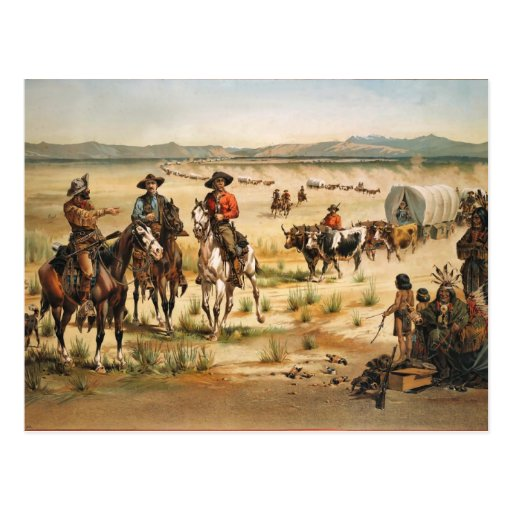 Wagon Train vintage painting Postcards