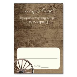 Wagon Wheel and Barn Wood Seating Card