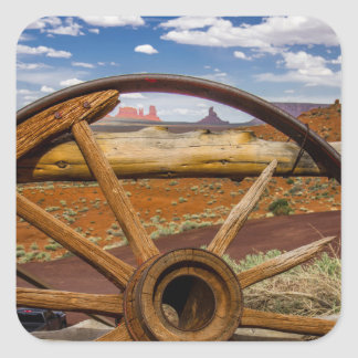 Wagon wheel close up, Arizona Square Sticker