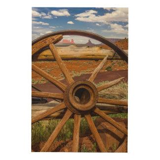 Wagon wheel close up, Arizona Wood Print