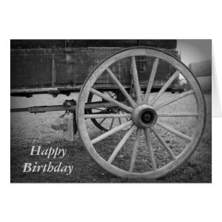 Wagon Wheel Happy Birthday Greeting Card