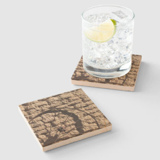 Wagonwheel on Brick Wall Stone Beverage Coaster