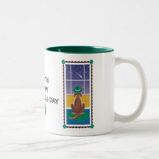 "WagsToWishes_""Irish You a Happy St. Patricks Day"" Two-Tone Coffee Mug"