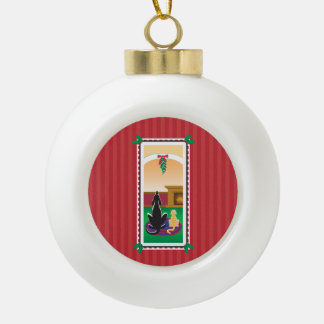 WagsToWishes®_Pets under mistletoe_red-striped Ceramic Ball Decoration