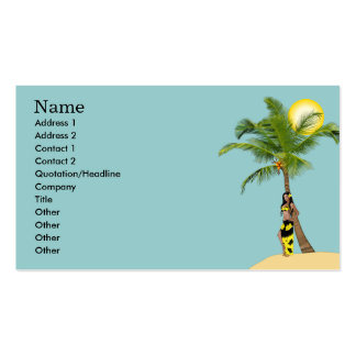 Wahine Pinup Coconut Tree Business Cards Blue