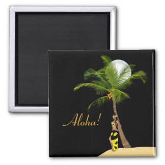 Wahine Pinup Coconut Tree Magnet