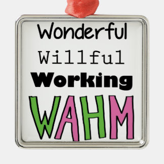 WAHM _ Work At Home Mom Silver-Colored Square Decoration