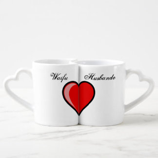 Waifu Husbando Shared Heart Coffee Mug Set