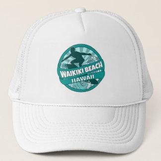 Waikiki Beach Hawaii teal surfer logo hat