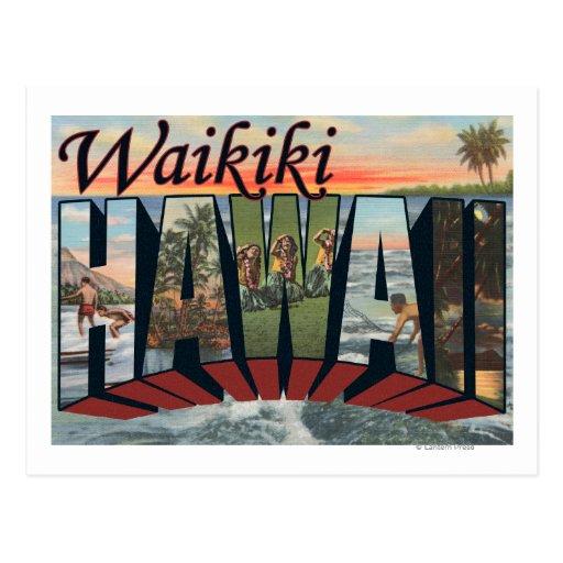 Waikiki, Hawaii - Large Letter Scenes Postcards