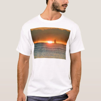 Waikiki Sunset with Sailboat Silhouette, Hawaii T-Shirt