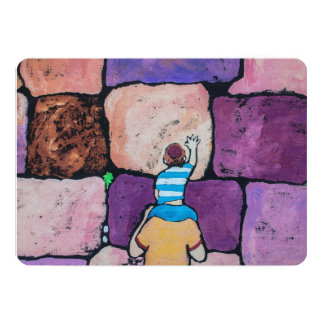 Wailing Wall with Parent and Child 13 Cm X 18 Cm Invitation Card