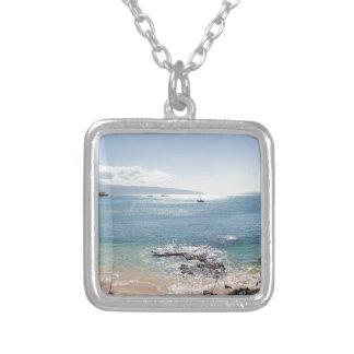 waimea bay panorama silver plated necklace