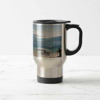 waimea bay panorama travel mug
