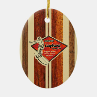 Waimea Surfboard Hawaiian Faux Wood Ceramic Ornament