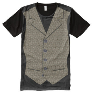 Waistcoat Image In Grey/Brown Tweed Cloth Texture All-Over Print T-Shirt