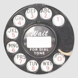 Wait For Dial Tone Round Sticker