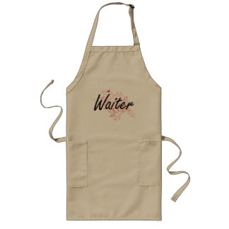 Waiter Artistic Job Design with Butterflies Long Apron