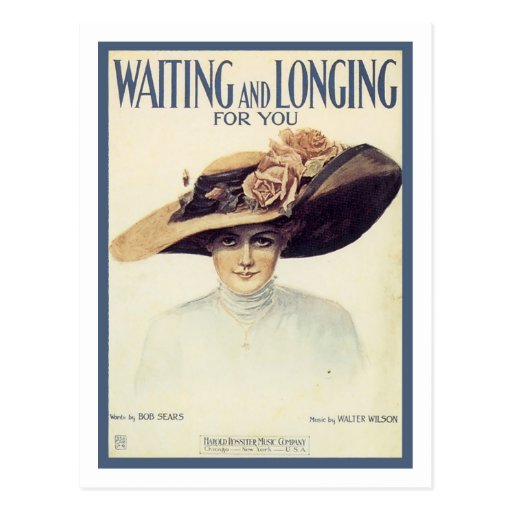 Waiting and Longing For You Vintage Songbook Cover Post Card