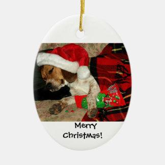 Waiting for Santa / Snoopy Beagle Dog Christmas Ceramic Ornament