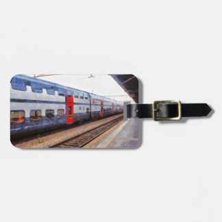 Waiting for the train on Swiss station Luggage Tag