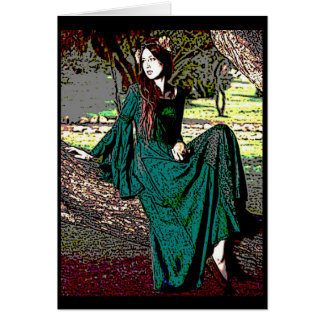 Waiting Medieval Lady Greeting Card