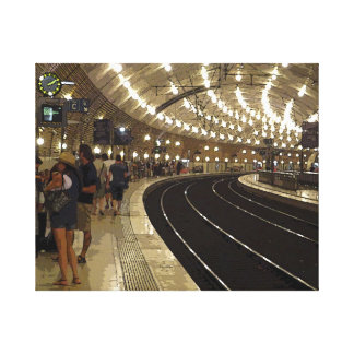 Waiting on the train in Monaco Canvas Print