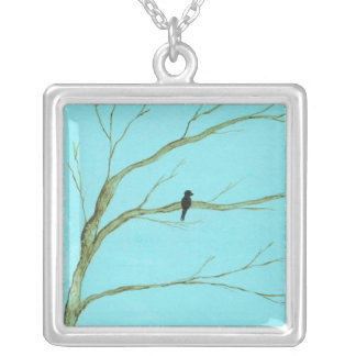 Waiting Square Pendant Necklace Painting
