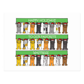 Waitress Happy Holidays Postcard