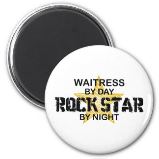 Waitress Rock Star by Night 6 Cm Round Magnet
