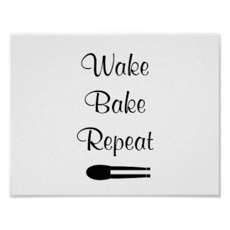 Wake Bake Repeat White Canvas Poster