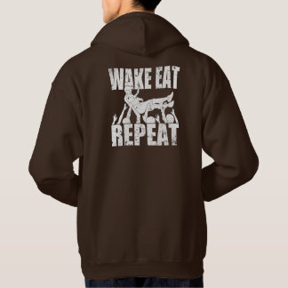 WAKE EAT crowd surf REPEAT (wht) Hoodie