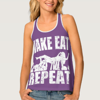 WAKE EAT crowd surf REPEAT (wht) Singlet