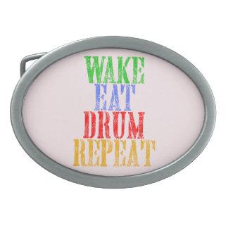 Wake Eat DRUM Repeat Belt Buckle