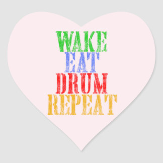 Wake Eat DRUM Repeat Heart Sticker