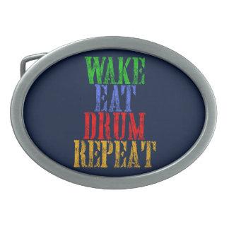 Wake Eat DRUM Repeat Oval Belt Buckle