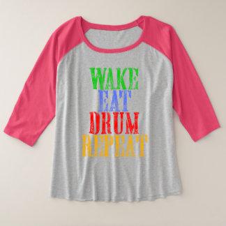 Wake Eat DRUM Repeat Plus Size Raglan T-Shirt