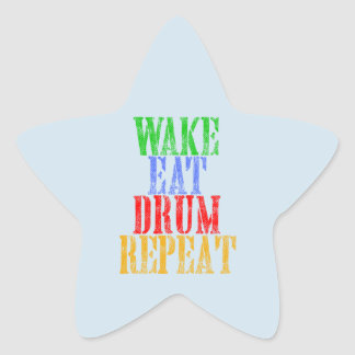 Wake Eat DRUM Repeat Star Sticker