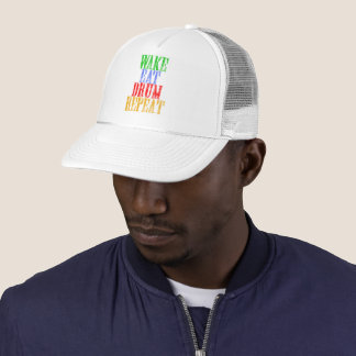 Wake Eat DRUM Repeat Trucker Hat