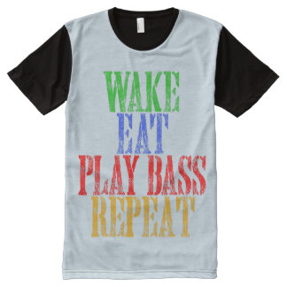 Wake Eat PLAY BASS Repeat All-Over Print T-Shirt